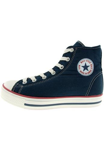 Maxstar 藍色 新款韩国鞋C1-7H時尚帆布布混合女深藍色 US Women Size MA345SH12HEHTW_1