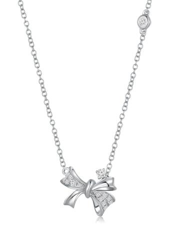 MaBelle silver Princess Butterfly 9K/375 White Gold Diamond Necklace BD7F4AC8B87214GS_1