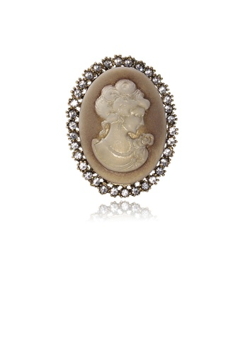 Glamorousky white Fashion Vintage Plated Gold Geometric Beauty Oval Brooch 2CFBDAC9A54F08GS_1