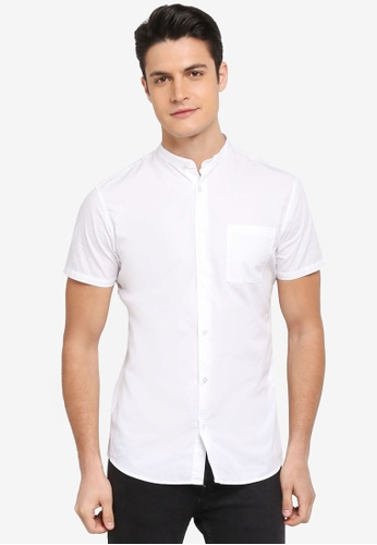 Selected Homme white One Crisp China Solid Short Sleeve Shirt 3F360AA39174A4GS_1