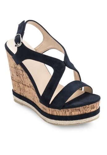 Darlenzalora 包包 ptte 交叉帶木製楔形鞋, 女鞋, 楔形涼鞋