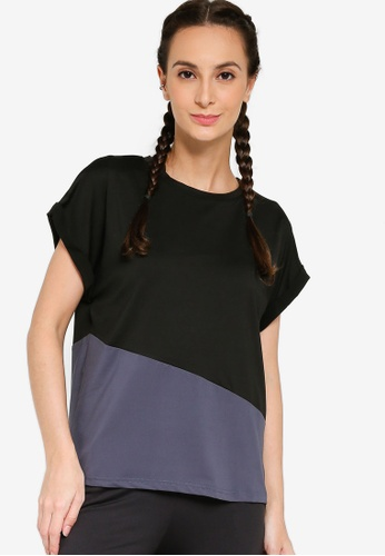 ZALORA ACTIVE black and grey Spliced Mesh T-Shirt 1DDB0AAEFC3986GS_1