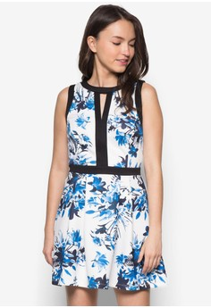 Printed Binded Fit And Flare Dress