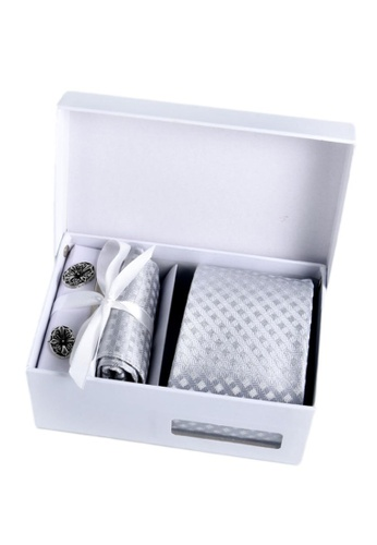 Kings Collection silver Silver Tie, Pocket Square, Cufflinks, Tie Clip 4 Pieces Gift Set (KCBT2064) 47F19AC0DC7FBCGS_1