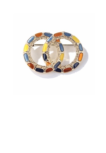 Glamorousky silver Fashion Simple Plated Gold Color Geometric Double Round Brooch 4E4E0AC214F00DGS_1