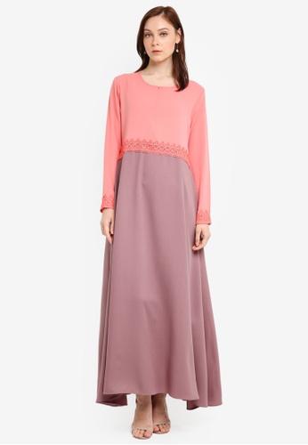 Aqeela Muslimah Wear pink Empire Lace Jubah F7E25AAF5D95BDGS_1