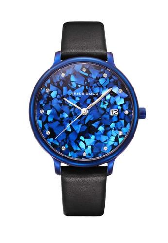 Aries Gold black Aries Gold Enchant Fleur L 5035 Blue and Black Watch 68A59AC6E7BF2EGS_1