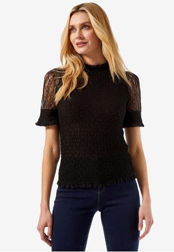 Dorothy Perkins black Black Lace Puff Sleeve Top 0677DAA4F674C6GS_1