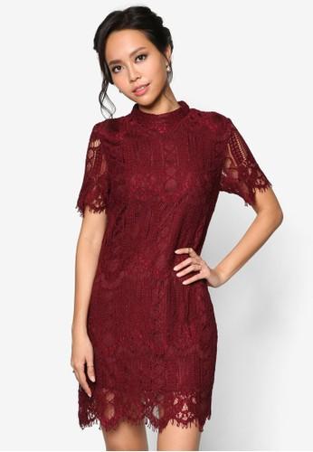寬短袖高領蕾絲直筒esprit hk store連身裙, 服飾, 洋裝