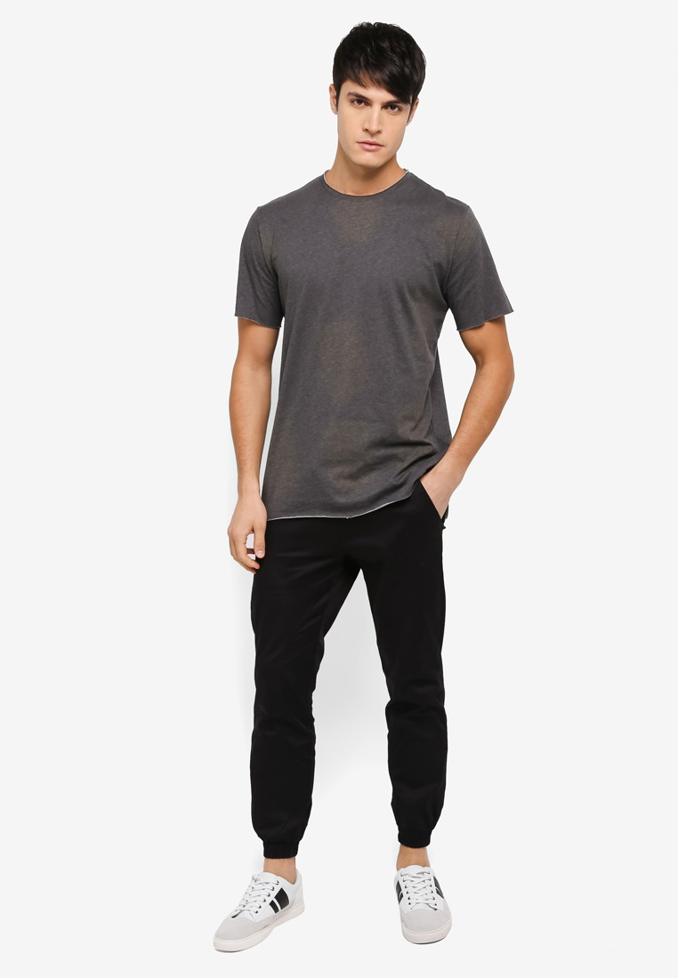 Tee Raw Black Edge ZALORA Dip Hem qnBS8