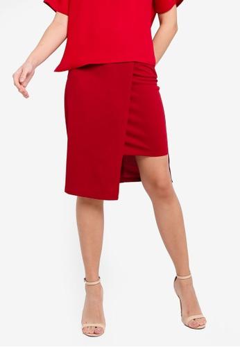 ZALORA 紅色 Step 下擺Skirt 25556AAAF5D091GS_1