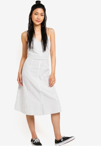 Something Borrowed white and navy Button Down Midi Dress With Self Tie Fastening F8F50AAA4A605BGS_1