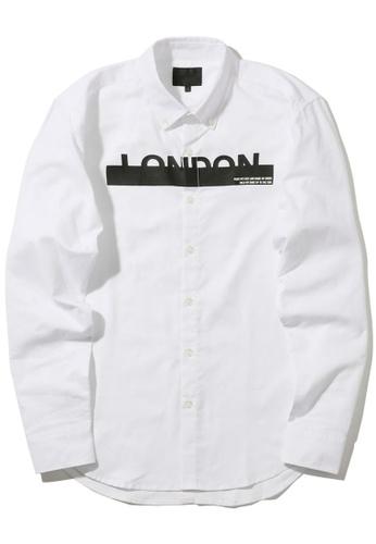 """MUSIUM DIV white """"London"""" print logo button-down shirt 83A3DAA718BDA2GS_1"""