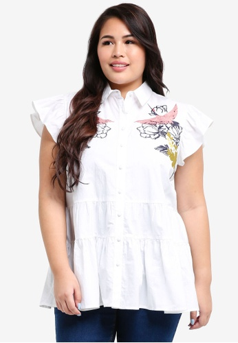 LOST INK PLUS white Plus Size Blouse With Bird Embroidery A8540AA27E9E49GS_1