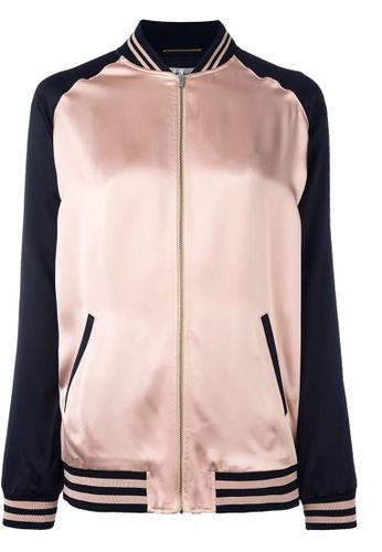SAINT LAURENT pink Saint Laurent Oversized Teddy Baseball Jacket in Pink,Black 103DFAA4259920GS_1