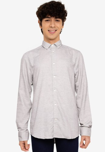 Only & Sons white Ted Life Dobby Melange Shirt 228B1AA3E1C95AGS_1