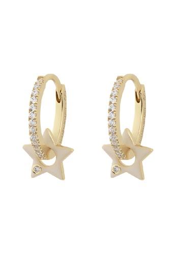Wanderlust + Co gold Star Ivory & Gold Hoop Earrings 9B6A8AC19934F9GS_1