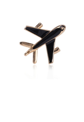 Glamorousky silver Simple and Creative Plated Gold Black Airplane Brooch 67A82AC83281EAGS_1