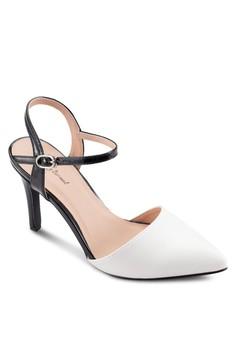 【ZALORA】 撞色尖頭繞踝高跟鞋