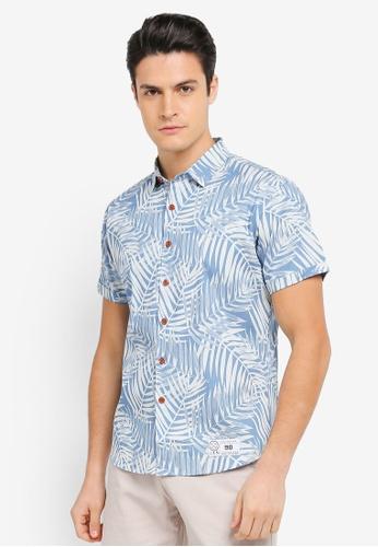 JAXON blue Palm Tree Short Sleeve Shirt B636BAAA382DC1GS_1