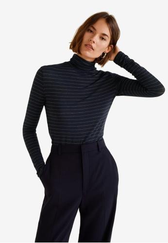 Mango blue and navy Metallic Thread T-Shirt 6FA2FAA8C164BCGS_1