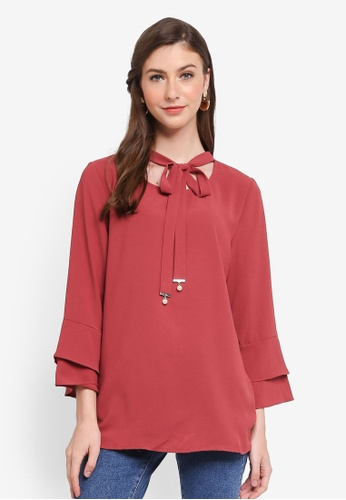 TOPGIRL red Double Layer Sleeve Pearl Knot Blouse 983CCAAEAC05C0GS_1