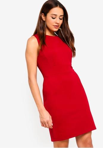ZALORA red Textured Sheath Dress 496C7AA4A86E40GS_1