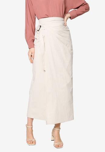 ZALIA BASICS white Front Wrap Skirt 35648AAA701B45GS_1