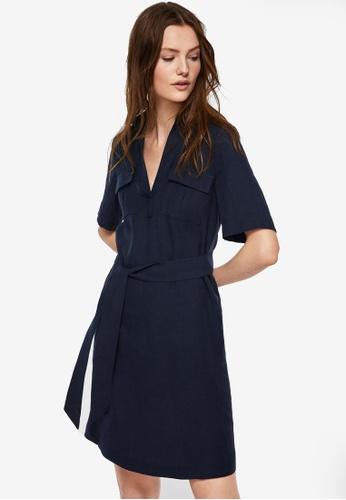 Mango blue Belted Dress 4C308AAF6EA6ADGS_1