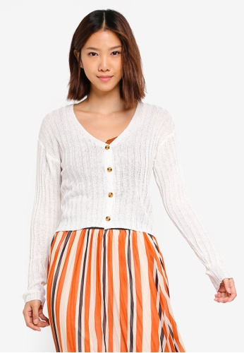 Cotton On white Maddy Button Through Chopped Cardigan C9D83AAB1F43E1GS_1
