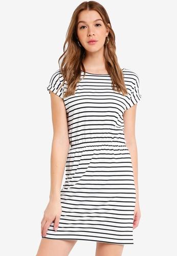 ZALORA BASICS black and white Basic T-Shirt Dress with Gathered Waist 807E3AA00D7A4CGS_1