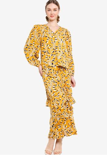 Lubna black and yellow Wrap Kurung Top With Ruffle Skirt B70E6AA80571E7GS_1