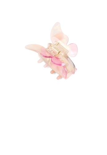 Glamorousky silver Fashion Temperament Pink Butterfly Hair Claw 7F982AC62A315AGS_1