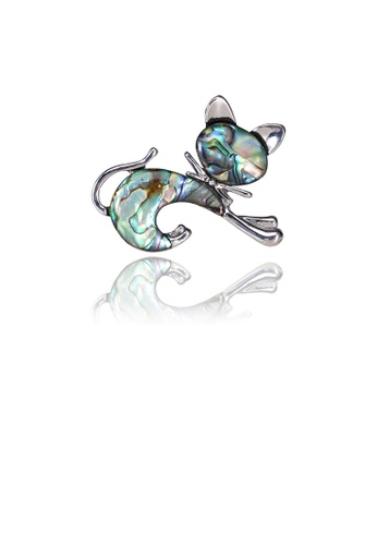 Glamorousky silver Simple and Cute Blue Cat Shell Brooch 9C883AC6C47207GS_1