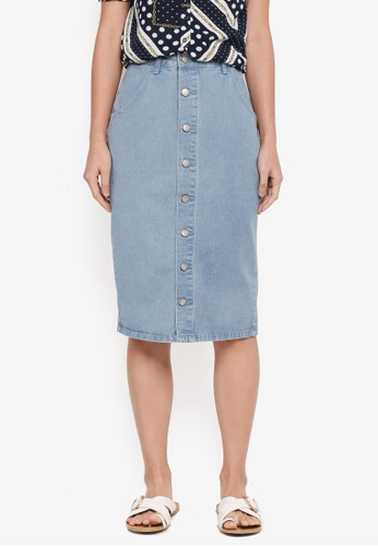 ZALORA blue Button Down Denim Pencil Skirt 1E288AA6EE85DBGS_1