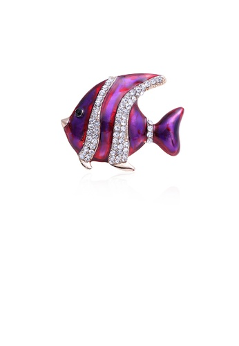 Glamorousky white Simple and Fashion Purple Tropical Fish Brooch with Cubic Zirconia 2BFC3AC9FDF3E9GS_1