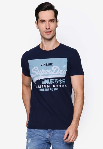 SUPERDRY navy Vintage Label Round Neck Tee 49E56AA7737495GS_1