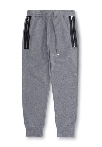 MUSIUM DIV grey Drawstring zip detail track pants 33D79AA7E5302DGS_1