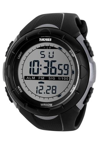Skmei silver SKMEI 1025 Men's Military Sport Big Dial Digital Watch (Titanium) SK707AC0RXO0MY_1