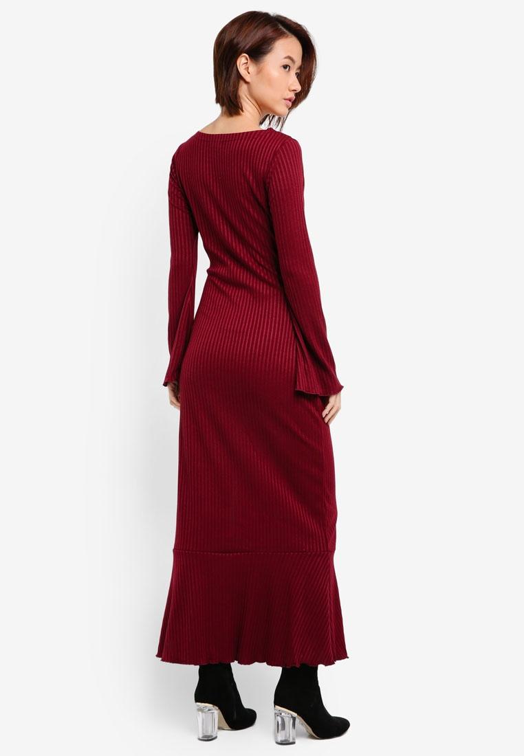 Maroon Maxi Sleeve Dress Flare Rib ZALORA Knit zqUWvT6Y