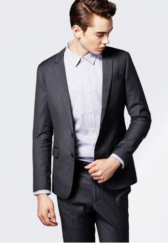 Life8 灰色 Formal 深灰織色條 西裝外套-11126-深灰色 LI216AA093FDTW_1