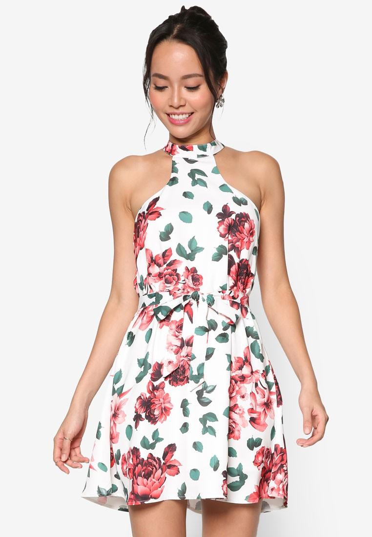 Floral Print High Collar Swing Dress