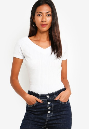 ZALORA BASICS white Basic Wide Neck Rib Top E81BDAA96EC478GS_1