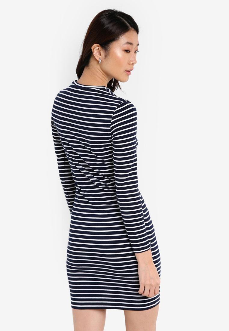 ZALORA amp; Basic Dress Sleeves Bodycon Long Navy Stripes White xIxAqfa