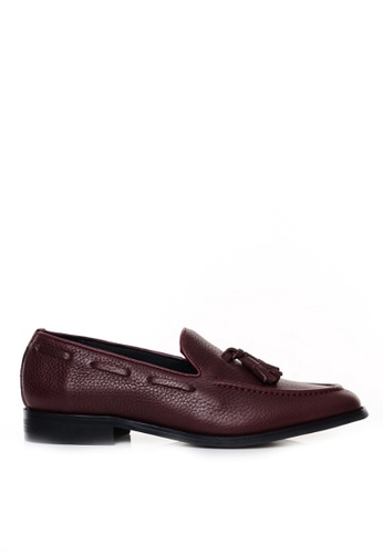 Zeve Shoes red Zeve Shoes Tassel Loafer - Red Pebble Grain 85C18SH96A8AE3GS_1