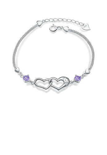 Glamorousky silver White Gold Plated 925 Sterling Silver with Purple Cublic Zirconia Heart-shaped Bracelet B9186AC8105D09GS_1