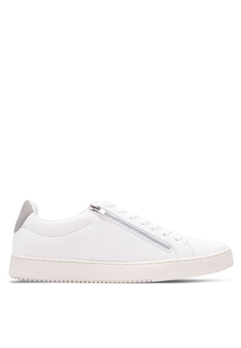 River Island white Side Zip Lace Up Trainers RI009SH0S8SUMY_1
