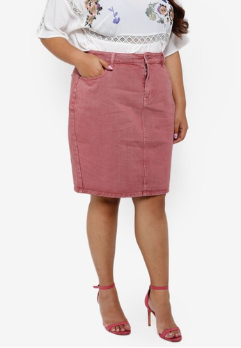 LOST INK PLUS pink Plus Size Pencil Skirt 91087AAA06E7FCGS_1