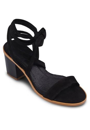 Nomad 纏繞踝帶粗跟涼鞋zalora退貨, 女鞋, 鞋