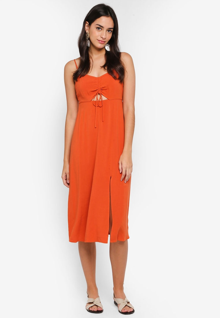 Slip Front TOPSHOP Rust Ruched Molly Petite Midi Dress TZOFRw